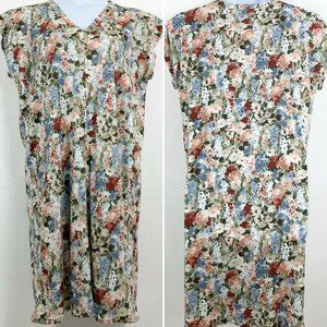 Vintage Handmade Dress L/XL Floral Knee Length